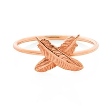 Feather Kisses Ring 9ct Rose Gold Size M-jewellery-The Vault