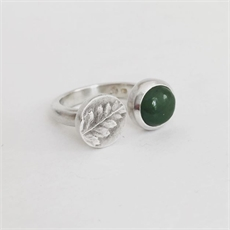 Pounamu & Fern Ring Silver-new-The Vault