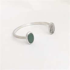 Pounamu & Fern Cuff Silver-new-The Vault