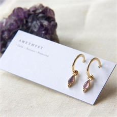 Gold Plate Healing Earrings Amethyst-jewellery-The Vault