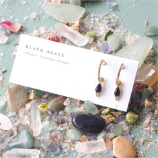 Gold Plate Healing Earrings Black Agate-jewellery-The Vault