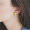 Diamond Rimu Earrings Yellow-jewellery-The Vault