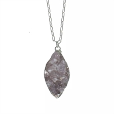 Druzy Agate Necklace Silver Chain Short-jewellery-The Vault