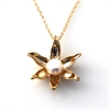 Floating Lotus Necklace GPlate Pearl-jewellery-The Vault
