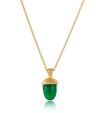 Acorn Pendant 60cm Green Onyx 18kt-jewellery-The Vault