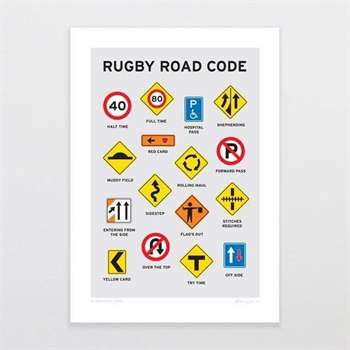 Rugby Road Code A4 Print