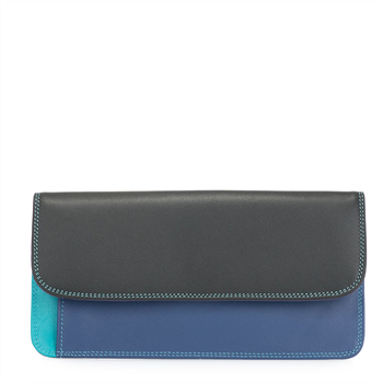Simple Flapover Wallet Purse Black Pace