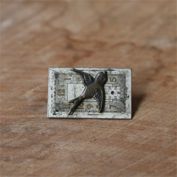 Small Rectangle Watchface Brooch w Bird