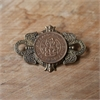 Large Crest Brooch Brass Half Penny-jewellery-The Vault