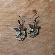 Steampunk Bee Earrings Brass-jewellery-The Vault