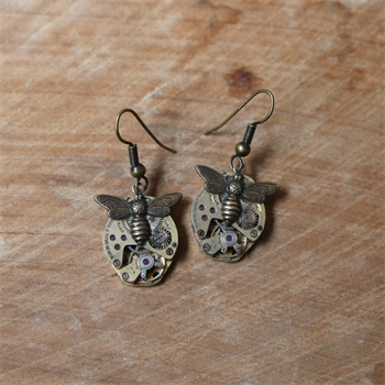 Steampunk Bee Earrings Brass