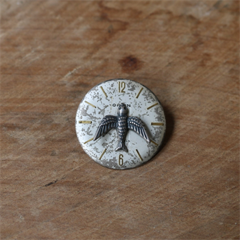 Small Watchface Brooch Silver Bluebird