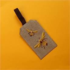 Luggage Tag Bee on Jute-for-her-The Vault