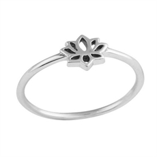 Tiny Lotus Ring Silver-jewellery-The Vault