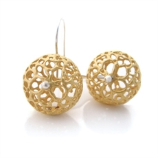 Small Lace Pod Earrings Gold Plate-jewellery-The Vault