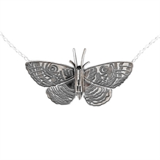 Purere Parangunu Moth Necklace Silver-jewellery-The Vault