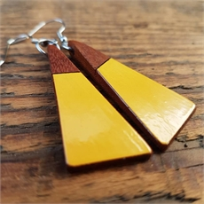Short Drop Triangle Earrings Mustard-jewellery-The Vault
