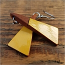 Short Drop Triangle Earrings Mustard
