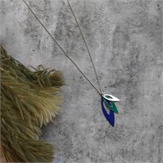 Three Leaf Pendant Silver Green Blue-jewellery-The Vault