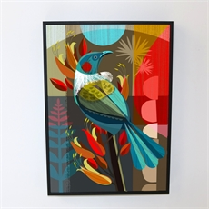 New Zealand Tui in the Flax Box Frame-artists-and-brands-The Vault