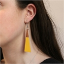Long Drop Triangle Earrings Mustard