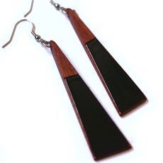 Long Drop Triangle Earrings Black-new-in-The Vault