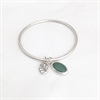 Pounamu & Fern Bangle Silver-jewellery-The Vault