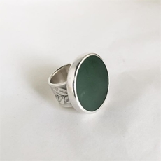Pounamu & Kowhai Ring Silver-view-all-jewellery-The Vault