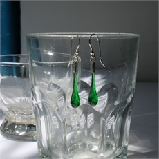Glass Eardrops Transparent Dark Green-jewellery-The Vault