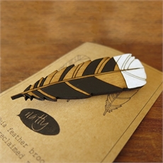 Huia Feather Brooch  -jewellery-The Vault