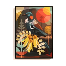 Tui and Kowhai Flowers Box Frame Black-artists-and-brands-The Vault