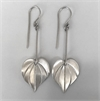 Large Kawakawa Long Drop Earrings Silver-jewellery-The Vault