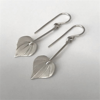 Small Kawakawa Long Drop Earrings Silver