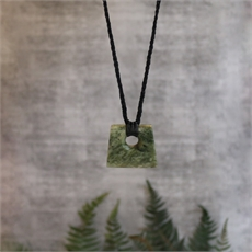 Medium Square Pounamu Black Cord-jewellery-The Vault