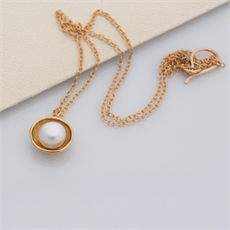 Pearl Cap Necklace Gold Plate-jewellery-The Vault