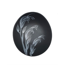 White Flax Flower On Black Bowl 10cm-home-The Vault
