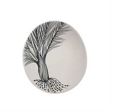 Black Nikau Detail On White Bowl 10cm-home-The Vault