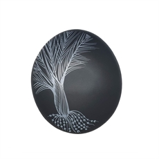 White Nikau Detail On Black Bowl 10cm-home-The Vault