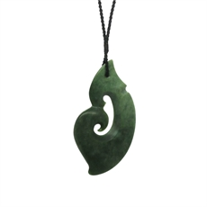 Xtra Large Pounamu Pendant Fish Hook-jewellery-The Vault