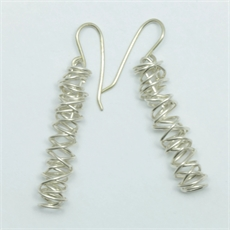 Live Wire Earrings Long Silver-jewellery-The Vault