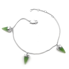 Tiny Point Chain Bracelet Pounamu-jewellery-The Vault