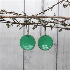 Enamel Disc Earrings Green-jewellery-The Vault