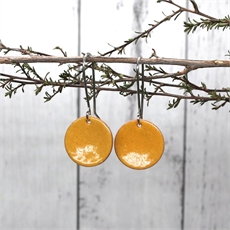 Enamel Disc Earrings Yellow-jewellery-The Vault