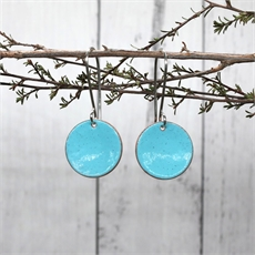Enamel Disc Earrings Turquoise-jewellery-The Vault