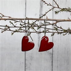 Enamel Heart Earrings Red-jewellery-The Vault
