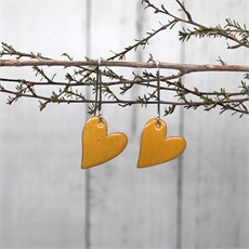 Enamel Heart Earrings Yellow-jewellery-The Vault