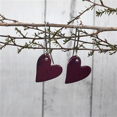 Enamel Heart Earrings Purple-jewellery-The Vault