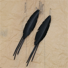 Feather Earrings w Strands Medium-jewellery-The Vault