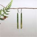 Pounamu Earrings Stg Silver Long Skinny