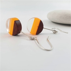Perspex Wood Earrings Round Yellow-jewellery-The Vault